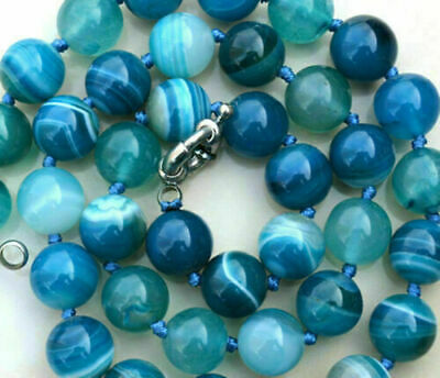 New8MM ANTIQUE ART DECO GENUINE RARE BLUE CHALCEDONY AGATE BEADS NECKLACE 18""