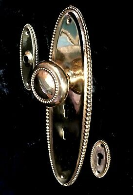 Beaded Cast Brass Entry Door Plate, Knob, Doorbell and Keyhole Covers c.1901