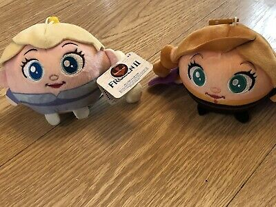 Frozen 2 Anna & Elsa Plush Clip On Squeeze Ball Squishy BNWT
