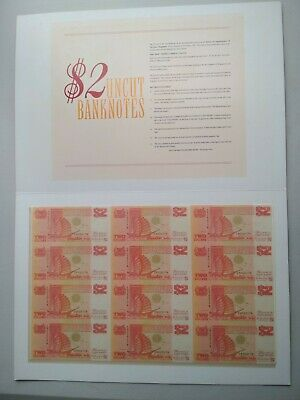 SINGAPORE Sheet of 12 x $2 UNCUT MINT BANK NOTES 1991 Limited Edition RARE
