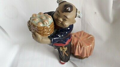 Chinese Mudmen - Rare - Large Glazed Figure Boy - 2 Barrels -Beautiful Colours