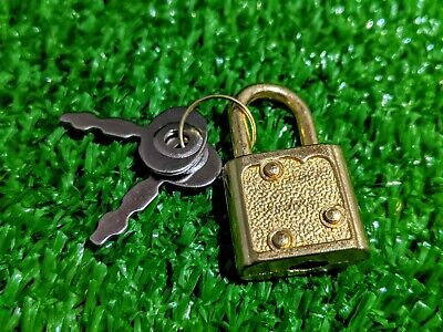 NEW miniature lockable high quality brass padlock and key - favour, diary, craft