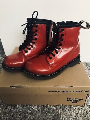 Boxed Dr Martens Delaney Ankle Boots Red Patent Leather Girls UK10 EU28 US11 VGC