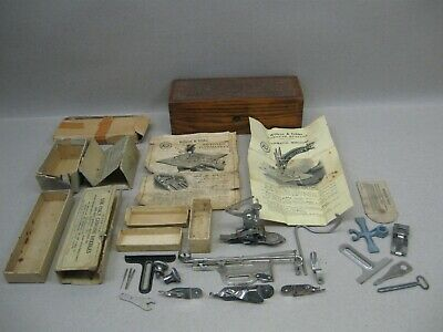 Antique Ptd 1871 Willcox Gibbs Sewing Machine Parts Attachments Feet Tools Boxes