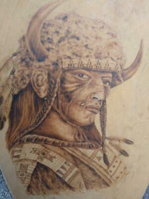 Old Vintage Wood Native American Indian Portrait Pyrography Wood Burning Art