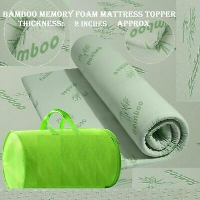 "Bamboo Orthopedic Memory Foam Mattress Toppers 1"" Or 2"" Thickness Organic Breath"