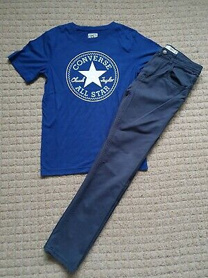 Boys Age 12-13 Years Converse T-Shirt & Primark Blue Cotton Chinos Outfit Bundle