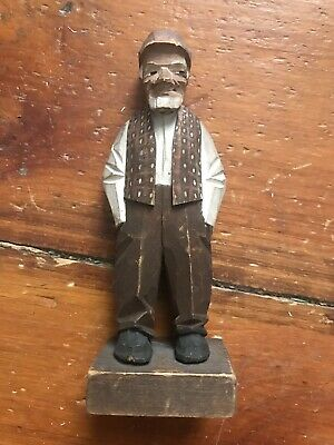 "Handcarved Folk Art Wood Figurine Man Signed J Walts? Handmade Hat 6"" Old Man"