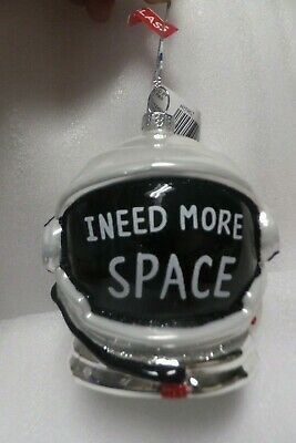 Space Astronaut Helmets Christmas Tree Ornament Glass Glittery NEW!  NASA