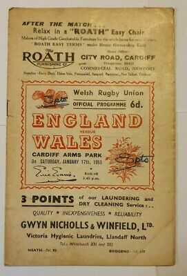 RARE WALES v ENGLAND RUGBY UNION PROGRAMME 1953