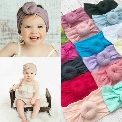 Baby Girls Kids Toddler Bow Knot Hairband Headband Head Stretch Turban Wrap B4H4