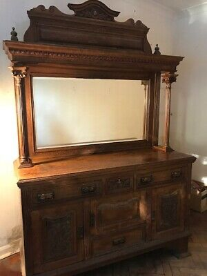 Large Hand Carved Solid Oak Dresser With Mirror. No Reserve.
