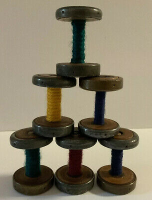 Vintage Rare Industrial Textile Bobbins Spool Wood 3-inch Tall Set Of 6