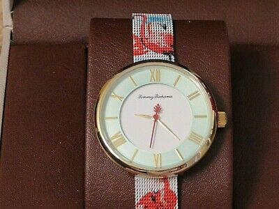 Tommy Bahama Pink Flamingo/Mint Face,Mesh Adjustable Stainless Steel Band Watch