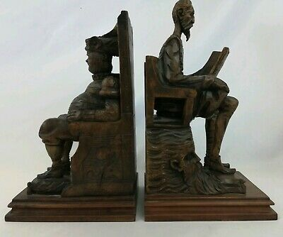 Vintage Ouro Made In Spain #94-A Don Quixote Sancho Panza Wood Carved Book Ends