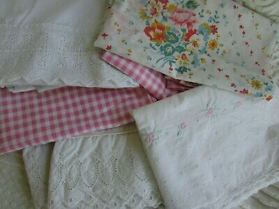 8 Vtg Pillowcases Variety Pink Gingham Embroidery Eyelet Lace Floral Lot of 8