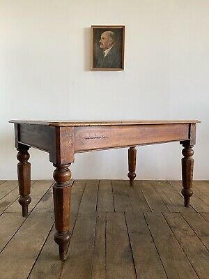 Victorian Antique English Library Mahogany Kitchen Dining Table Desk