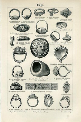 1894 ANCIENT JEWELRY RINGS Antique Engraving Print