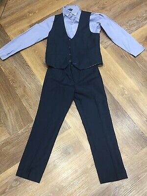 Boys Next navy blue three piece suit waistcoat shirt trousers age 8 years