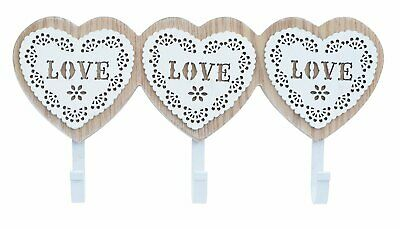 Shabby Chic Wooden Key Rack KEYS Holder Storage Heart LOVE Hooks Hanger Coat