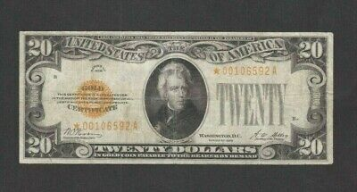 Rare Scarce Nice {{Star}} 1928 $20 Gold Certificate Small Very Fine  No Probs Nr