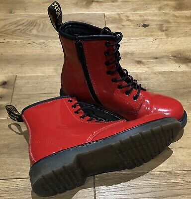 Girls Dr Martens Air Wair Boots In Bright Red Size Uk 2 Juniors - Rrp £75 -