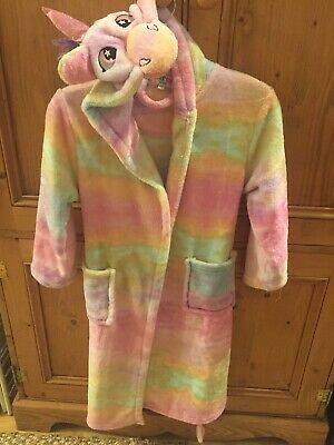 Girls Dressing Gown Rainbow Unicorn- 7/8 years by Nifty Kids- really lovely