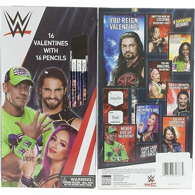 WWE Wrestling 16 Valentines Day Cards & Pencils for School Class John Cena