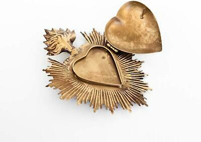 The Queen of Crowns Sacred Heart Metal Heart Milagro Gold Heart Box Ex Voto