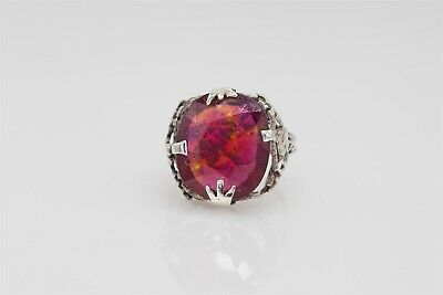Antique 1920s $4000 10ct Natural OLD CUT Ruby Sterling Silver Filigree Ring RARE