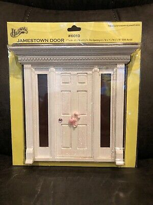 HOUSEWORKS DOLLHOUSE # 6010 JAMESTOWN 6 PANEL DOOR WITH SIDE LIGHTS-Painted