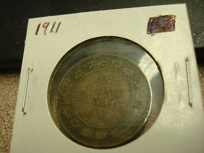 1911 - Canadian penny - Canada one cent - circulated