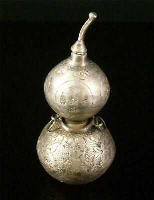 Antique Old Chinese Solid Silver Made Snuff Bottle Calabash Sty GOLDFISHES LOTUS