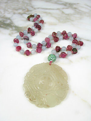 Antique Chinese Carved White Mutton Fat Jade Pink Tourmaline Aquamarine Necklace