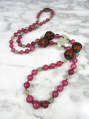 Antique Chinese Pink Tourmaline Celadon Jade Carved Wood Bat Bead Necklace Qing
