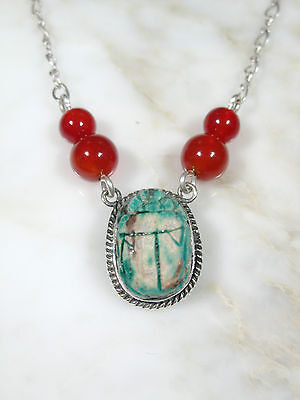 Vtg Egyptian Revival Ss Silver Necklace W Ancient Faience Scarab Bead Carnelian