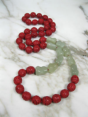 """Vtg 37"""" Chinese Carved Red Cinnabar Celadon Green Jade Knuckle Bead Necklace"""