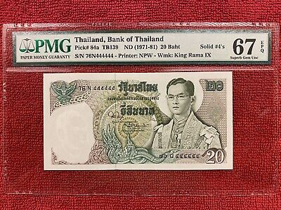 Thailand Banknote P.84a  20 Baht  Eleventh Series  Solid  #4's  PMG 67EPQ