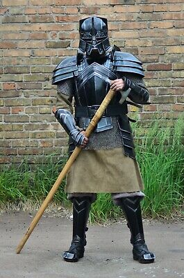 Medieval Steel Armor Full Set/Bracers/Pauldrons/Cuirass/Leg Greaves/And Helmet