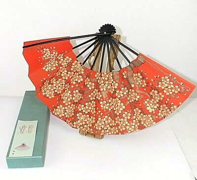 Oriental hand fan with stand Paper Bamboo Cherry Blossom Hand cart  Red Boxed 2