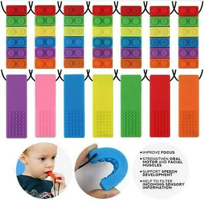 Pencil Topper Chew Sensory Necklace Brick Autism Silicone Biting Teether 2020Q@~