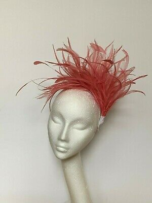 dusky pink feather Fascinator Hat Headband Headpiece Wedding Ascot Derby Races