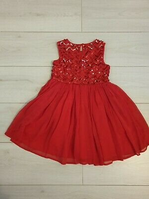 Debenhams Bluezoo Girls Red Sequin Party Dress Age 6 Years