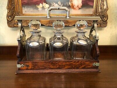 Antique 1891 English Oak Tantalus Liquor Cabinet With 3 Decanters & Working Key