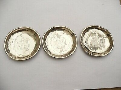 Rare Chinese Export Antique Solid Silver Set Of 3 Small Dishes