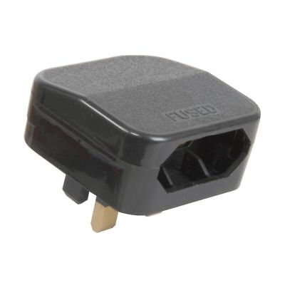 Black Fcp 5A Fused European Converter Plug Convert 2 Pin Euro To 3 Pin Uk