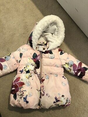 Girls Warm Ted Baker Hooded Coat Age 3-4