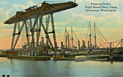 Floating Crane Puget Sound Navy Yards Bremerton WA Unused Vintage Postcard E7