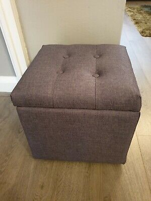 Small grey foot stool with storage (fabric)