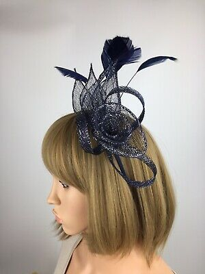 Navy Blue And Silver Fascinator Wedding Mother Of The Bride Ascot Races Hat